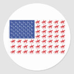 Patriotic Horse and Rider American Flag Round Stickers