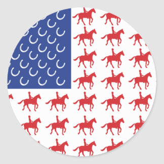 Patriotic Horse and Rider Classic Round Sticker
