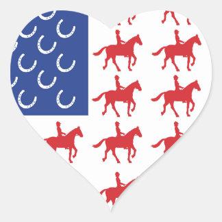 Patriotic Horse and Rider Heart Sticker