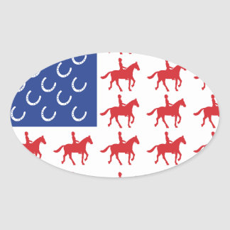Patriotic Horse and Rider Oval Sticker