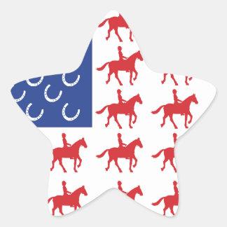 Patriotic Horse and Rider Star Sticker