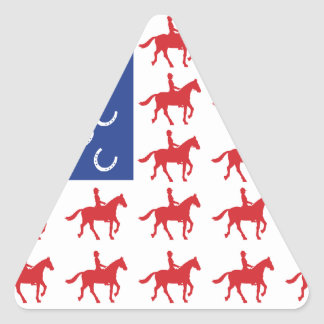 Patriotic Horse and Rider Triangle Sticker