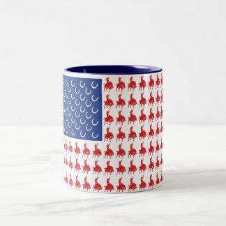 Patriotic Horse and Rider Two-Tone Coffee Mug