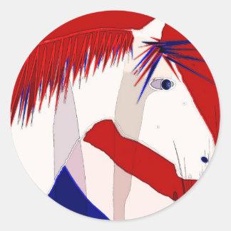 Patriotic Horse Classic Round Sticker
