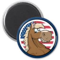 Patriotic Horse Magnet