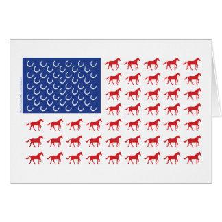 Patriotic Horses American Flag Card