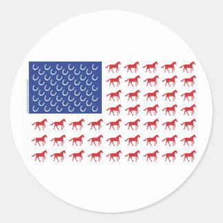 Patriotic Horses American Flag Classic Round Sticker
