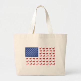 Patriotic Horses American Flag Large Tote Bag