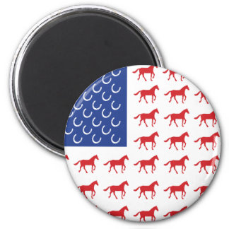 Patriotic Horses American Flag 2 Inch Round Magnet