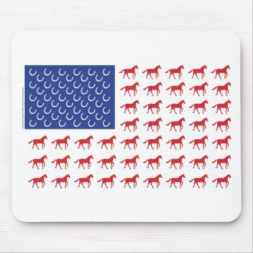 Patriotic Horses American Flag Mouse Pad