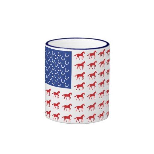 Patriotic Horses American Flag Mug
