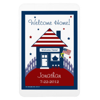 Patriotic House Military Homecoming Magnet Favor