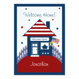 Patriotic House Military Welcome Home Invitation