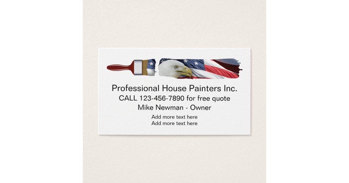 Patriotic House Painter Design Business Card | Zazzle.com