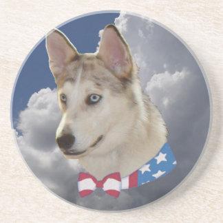 Patriotic Husky Dog Fluffy White Clouds Drink Coaster