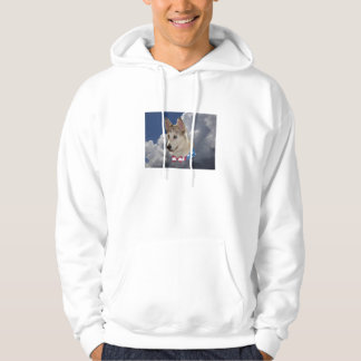 Patriotic Husky Dog Fluffy White Clouds Hooded Sweatshirt