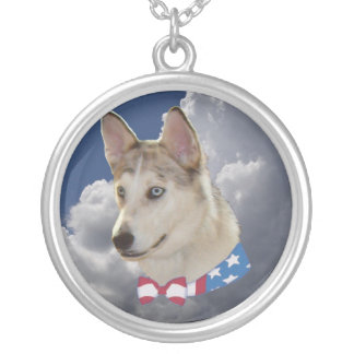 Patriotic Husky Dog Fluffy White Clouds Round Pendant Necklace