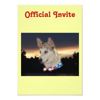Patriotic Husky Dog Sunset Card