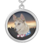 Patriotic Husky Dog Sunset Necklace