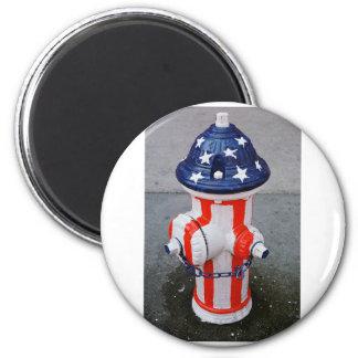 Patriotic Hydrant 2 Inch Round Magnet