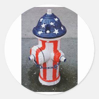 Patriotic Hydrant Classic Round Sticker