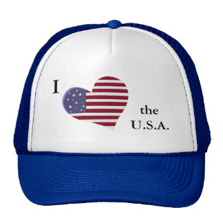 "Patriotic I ""heart"" the U.S.A. with Heart Flag Trucker Hat"