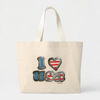 """Patriotic """"I Love USA"""" Tote Bag"""