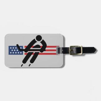 Patriotic Ice Hockey Design Luggage Tags