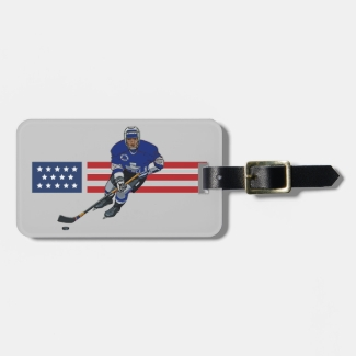 Patriotic Ice Hockey Design Luggage Tags