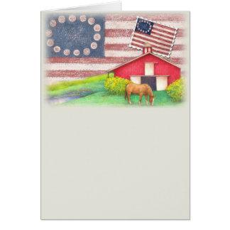 Patriotic  illustrated horse & barn greeting card