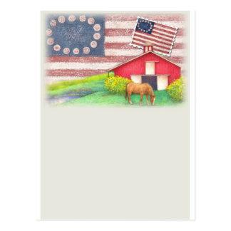 Patriotic  illustrated horse & barn greeting postcard