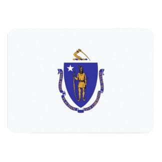 "Patriotic invitations with Flag of Massachusetts 5"" X 7"" Invitation Card"