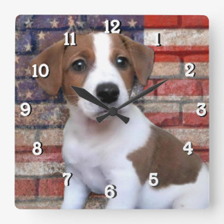 Patriotic Jack Russell Terrier Square Wall Clock