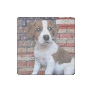 Patriotic Jack Russell terrier Stone Magnet