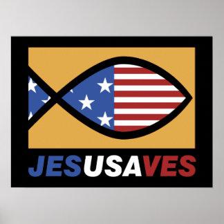 Patriotic Jesus Saves poster