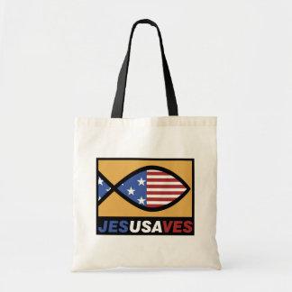 Patriotic Jesus Saves Tote Bag