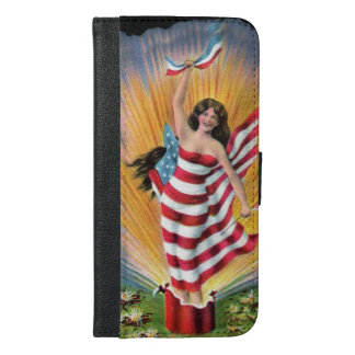 Patriotic July 4th Lady Liberty USA Flag Fireworks iPhone 6/6s Plus Wallet Case