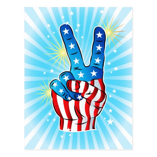 Patriotic July 4th Victory Hand w/ Stars & Stripes Postcards