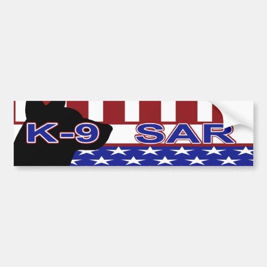 PATRIOTIC K-9 SAR -CANINE SEARCH & RESCUE BUMPER STICKER