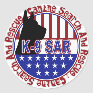PATRIOTIC K-9 SAR -CANINE SEARCH & RESCUE CLASSIC ROUND STICKER