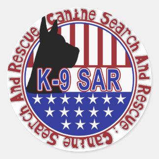 PATRIOTIC K-9 SAR -CANINE SEARCH & RESCUE CLASSIC ROUND STICKER