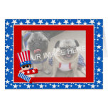 Patriotic Kid with Firecrackers Photo Card
