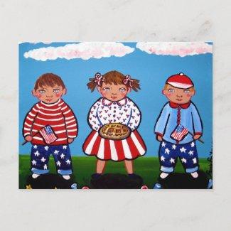 Patriotic Kids 4th of July Folk Art postcard