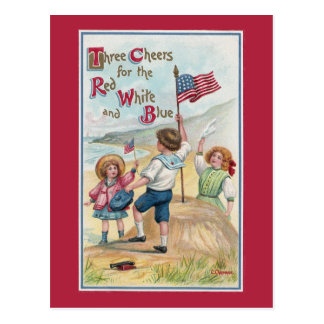 Patriotic Kids at the Beach with Flags Postcard