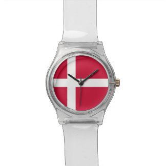 Patriotic kids watch with Flag of Denmark