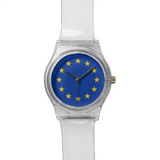 Patriotic kids watch with Flag of European Union
