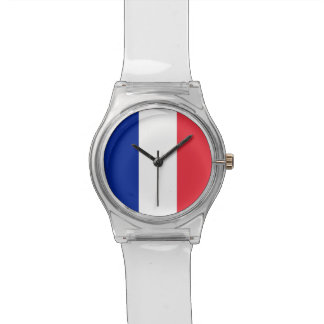 Patriotic kids watch with Flag of France