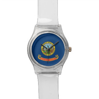 Patriotic kids watch with Flag of Idaho