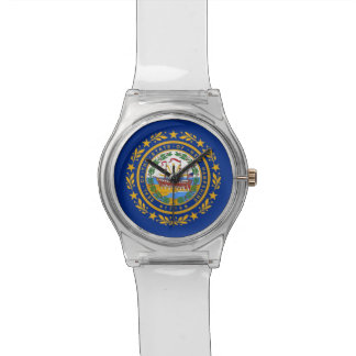Patriotic kids watch with Flag of New Hampshire