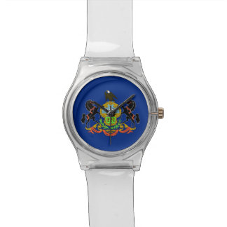 Patriotic kids watch with Flag of Pennsylvania